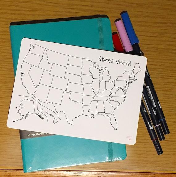 US States Visited Sticker for Bullet Journal
