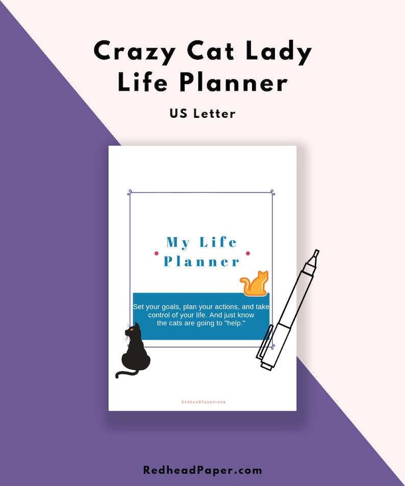 Cat Lover Life Planner  Printable Planner Kit  Cat Lady  image 0