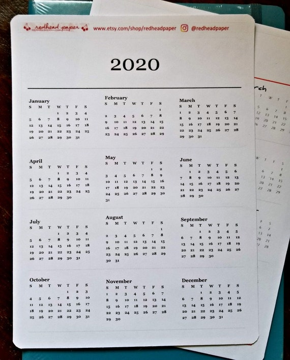 Calendrier Bullet Journal 2020.2020 Year On A Page Sticker Bullet Journal Accessories Annual Overview Yearly Calendar