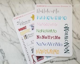 NaNoWriMo Pantser Bundle: Word Count Tracker + Graph + Calendar + NaNoWriMo Fun Stickers | Writer's Notebook | Bullet Journal Accessories