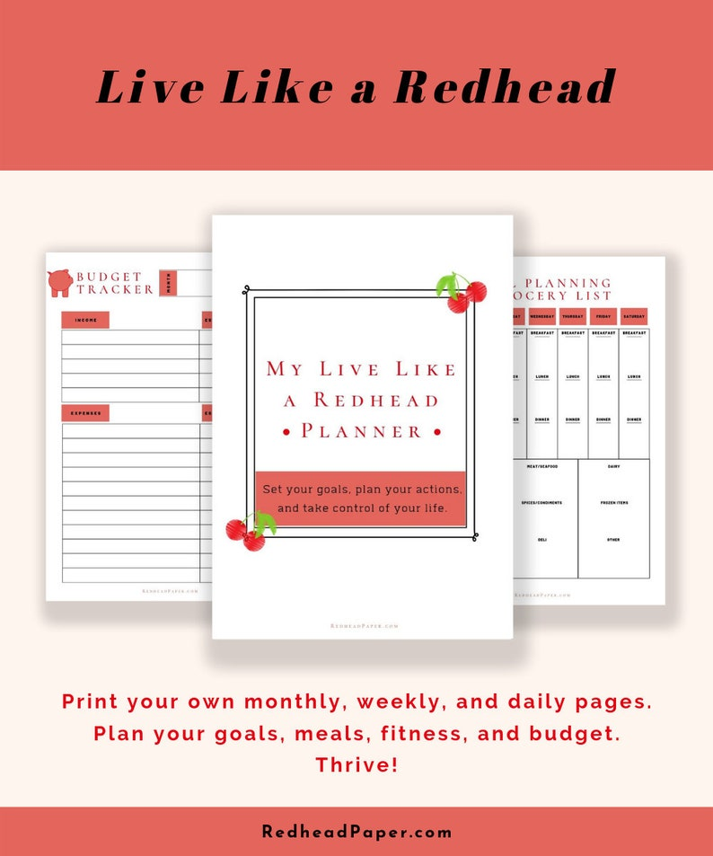 Life Planner  Live Like a Redhead printable planner kit image 0