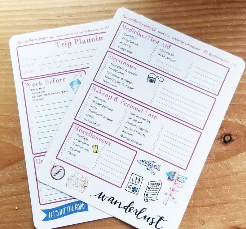 Trip Planning Stickers for Bullet Journal image 0