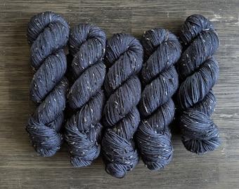 Hand Dyed Yarn - 'Steeled' - Tweed DK - DK Weight - Superwash Merino and Donegal Nep- 231 yards 100 grams