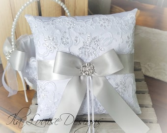 250 Custom Sash Colors Available Dusty Blue /& White or Ivory Ring Bearer Pillow for Wedding
