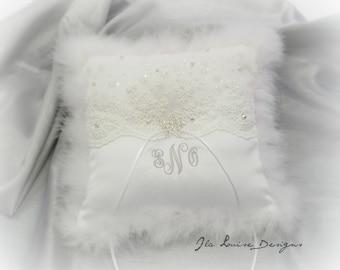 Snowflake Ring Bearer Pillow, Down Trim, White Ring Bearer Pillow, Winter Wedding, Monogrammed Ring Pillow, Personalized Ring Bearer Pillow