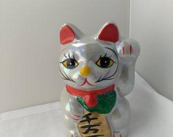Set of 2 Black Ceramic Japanese Sleeping Cat Chopstick Rest Holder Figurine