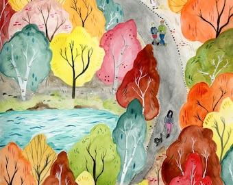 Autumn Stroll print - 8x10