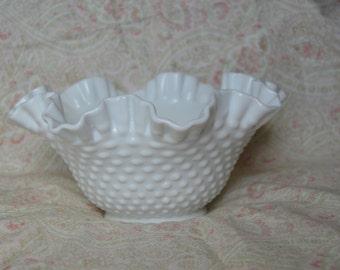 Fenton White Hobnail Fluted Fruit Bowl