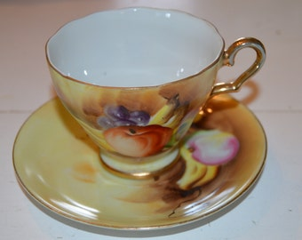 """Enesco """"E1432"""" Fruit Pattern Gold Trimmed Tea Cup and Saucer"""