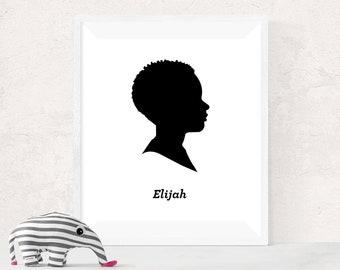 Custom Digital Silhouette Portrait with Personalized Name - African American Art - Digital Download -Custom Keepsakes - Nursery Art