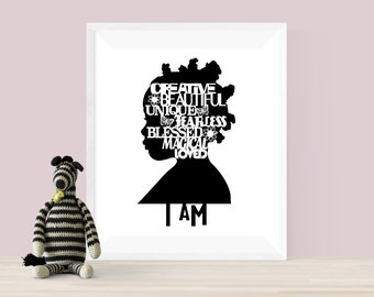 I Am Digital Download - Girls Room - Art Printable - African American Art - Printable Wall Art - Positive Artwork - Nursery