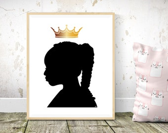 Black Art- Kids Room Decor- Digital Download - Girls Art Printable - African American Art - Black Girl Magic - Home Decor - Child's Room