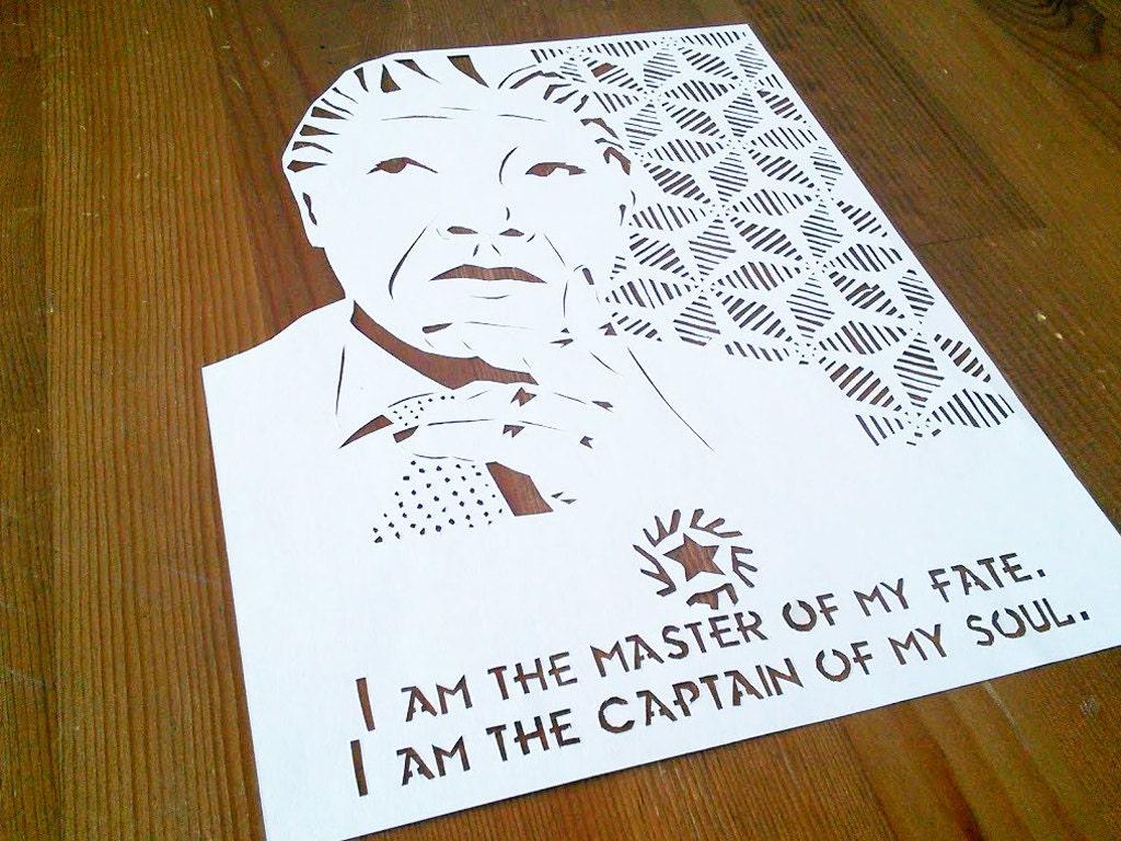 Nelson Mandela Paper Cut Art African American Art Invictus Etsy