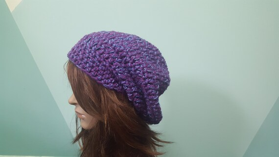 7229b18fcf3 Purple slouchy beanie womens hat winter toque gift for her