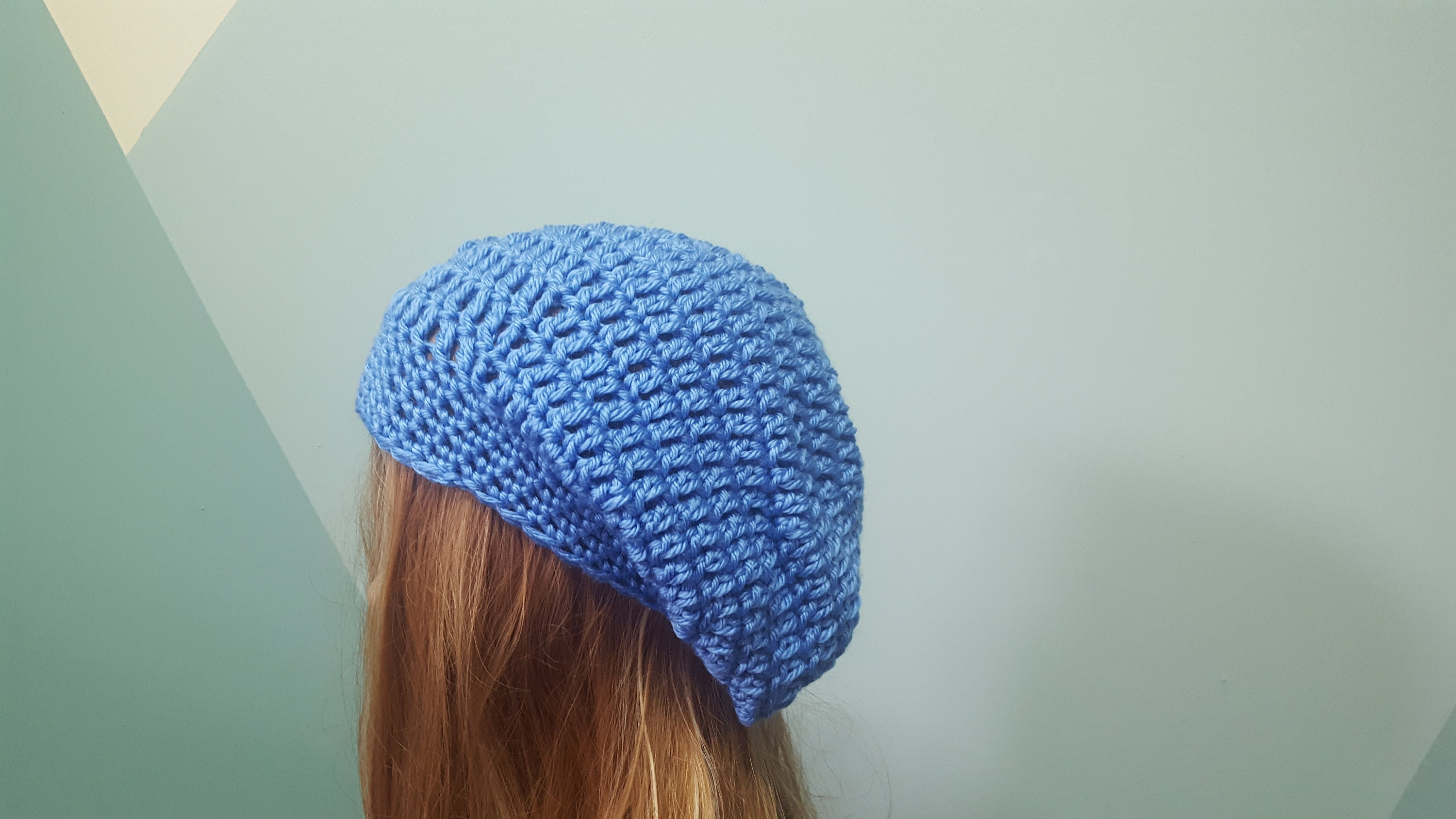 7fcbe99f4b3 Soft blue slouchy beanie womens hat winter toque