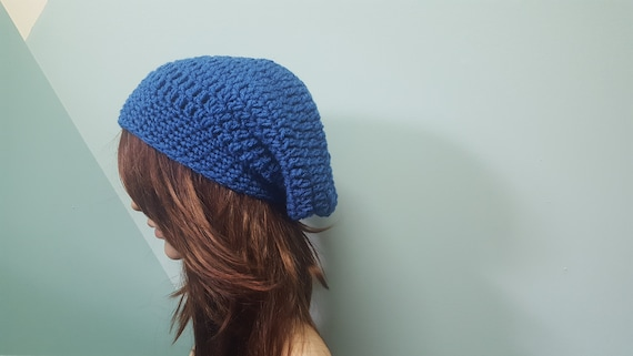 2d46566dc07 Royal blue slouchy beanie womens hat mens toque