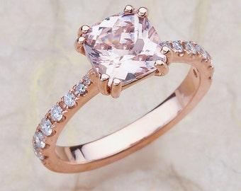 Morganite Engagement Ring Rose Gold / Cushion Cut Morganite Engagement Ring Rose Gold / Morganite Rose Gold Engagement Ring / Cushion Cut