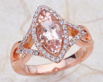 Morganite Engagement Ring Rose Gold, Marquise Morganite Engagement Ring Rose Gold, Morganite Rose Gold Ring, Rose Gold Morganite Ring Halo