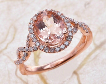 Morganite Engagement Ring Rose Gold / Oval Cut Morganite Halo Engagement Ring / Rose Gold Engagement Ring