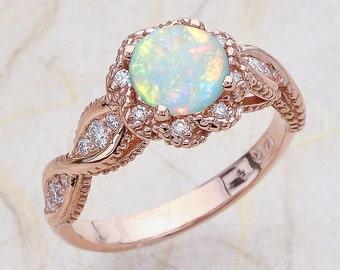14K Vintage Rose Gold Opal Engagement Ring / October Birthstone / Halo Round Shaped Australian Opal