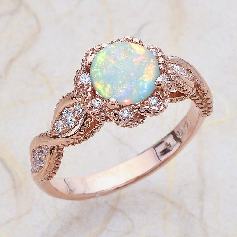 85e8f381b9fc8 14K Vintage Rose Gold Opal Engagement Ring / October Birthstone / Halo  Round Shaped Australian Opal