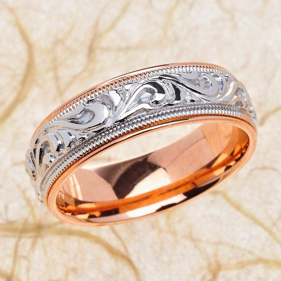 14k Rose And White Gold Mens Hand Engraved Wedding Band Mens Etsy