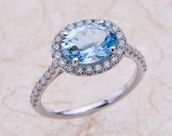 Aquamarine Engagement Ring White Gold, Aquamarine Halo Engagement Ring, White Gold Aquamarine Engagement Ring, Aquamarine Oval Halo Ring