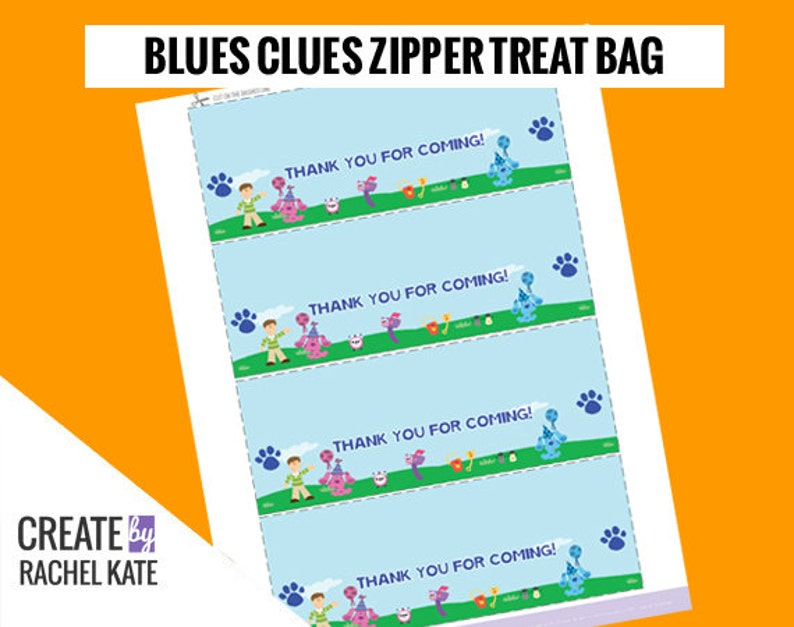 Blues Clues Party Thank You Zipper Treat Candy Bag Topper