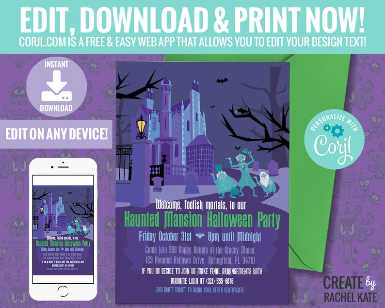 Disney Inspired Haunted Mansion Halloween Party Invite Invitation with  Wallpaper | Personalize Editable Edit Yourself DIY with Corjl