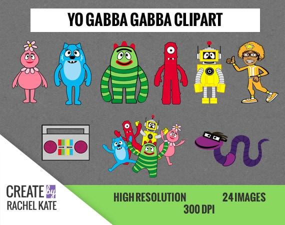 yo gabba gabba clipart set for digital scrapbook paper pack etsy