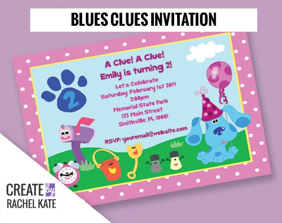 Blues Clues Birthday Party Personalized Printable Invitation