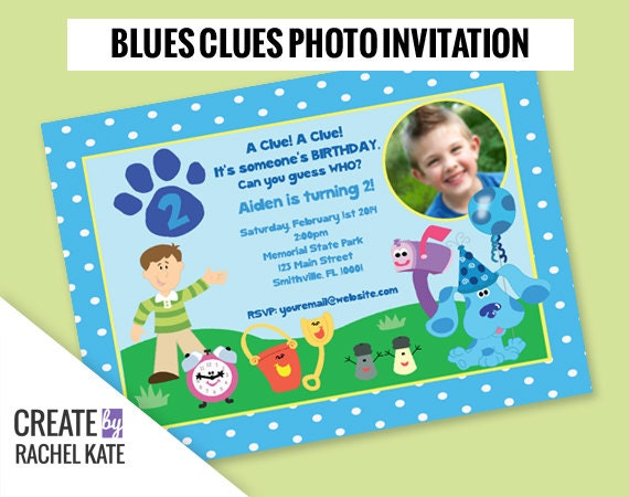 Blues Clues Birthday Party Personalized Photo Printable