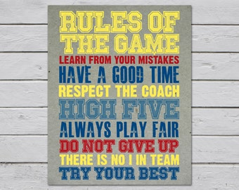 Rules of the Game Wall Art / Sports / Typography / Wall Decor / Home Decor / Art Prints / Custom / Art / Quotes