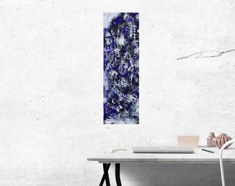 Astrid: Original fine art abstract painting, purple and white acrylic