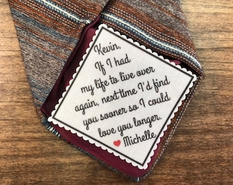 "GROOM TIE PATCH - From the Bride - Sew or Iron, 2"" or 2.5"" Wide, I'd Find You Sooner So I Could Love You Longer, Gifts for Him, Groom Gifts"