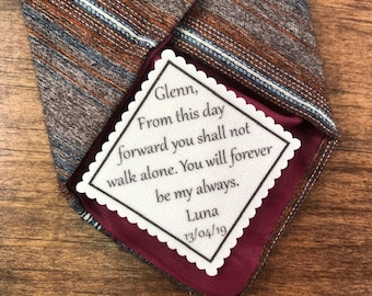 "Personalized GROOM TIE PATCH, Sew or Iron On, 2.5"" or 2"" Wide, From This Day Forward You Shall Not Walk Alone, You Will Forever Be My Always"