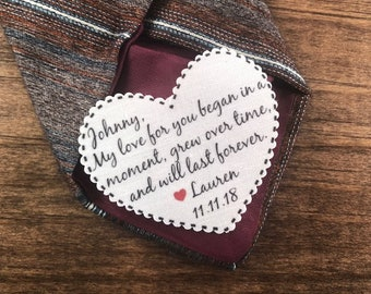"""GROOM'S TIE PATCH - From the Bride - My Love For You Began Grew and Lasts -  Sew or Iron On, 2.25"""" Heart Shape, Choose Font, For the Groom"""