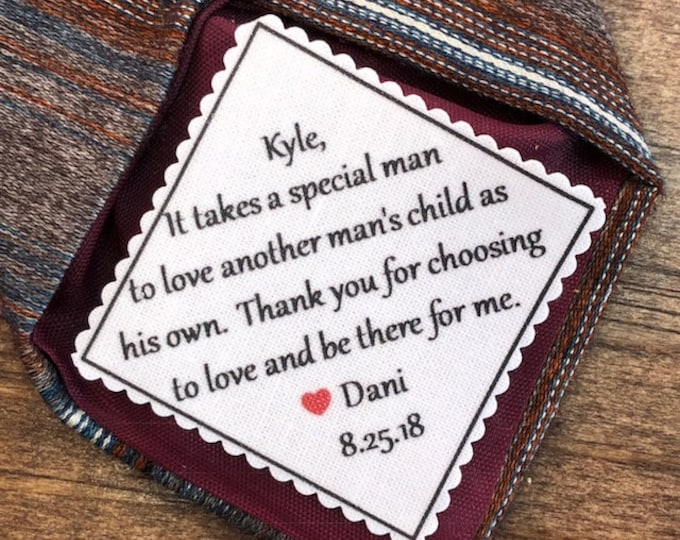 "Featured listing image: TIE PATCH for Step Dad - Sew On or Iron On, 2"" or 2.5"" Wide Patch, It Takes a Special Man to Love Another Man's Child As His Own"