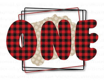 Buffalo Plaid 1st Birthday PNG File For Sublimation Printing, ONE Birthday Png, T-Shirt Design, Clip Art, DTG Printing, Digital Download