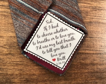 "VALENTINE'S DAY Tie Patch - If I Had To Choose Whether To Breathe Or To Love You, Gift for Him, Sew, Iron On, 2"" or 2.5"" Wide, Ink Printed"