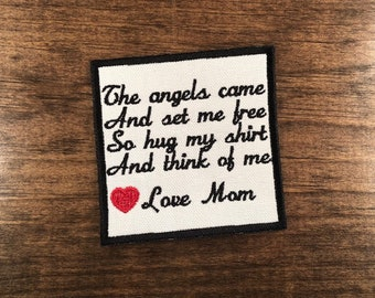 Memory Pillow Patch, Personalized Patch, Loss of Loved One, SEW, IRON ON, The Angels Came and Set Me Free, 4 Inch, Hancock, 15 Patch Colors