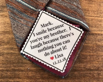 "TIE PATCH for BROTHER - From the Bride - From the Groom - Sew or Iron On, 2"" or 2.5"" Wide, I Smile Because You're My Brother, Gifts for Him,"