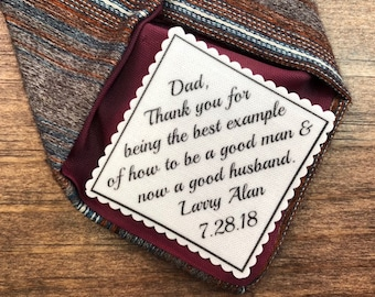 "FATHER OF the GROOM Tie Patch - 2"" or 2.5"" Wide Diagonal Patch, Sew or Iron On, Ink Printed, Choose Message and Font, From Bride, From Groom"