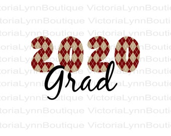2020 Grad - Maroon Plaid - For Sublimation Printing, PNG File, 300 DPI, DTG printing, Instant Digital Download