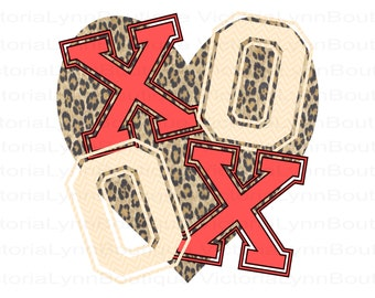 XOXO PNG Chevron and Leopard Heart For Sublimation Printing, Valentines Day, tshirt png, DTG printing, Instant Digital Download