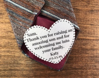 "FATHER-IN-LAW Tie Patch - Sew On or Iron On, 2.25"" Heart Shaped, Thank You For Raising an Amazing Son and For Welcoming Me Into Your Family"