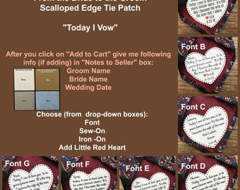 """GROOM TIE PATCH - From the Bride, Sew On, Iron On, Gifts for Him, Today I Vow, Scalloped Edge, 2.25"""" Heart Shape, Dot Border, Choose Font"""