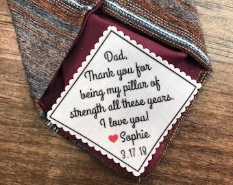 """FATHER of the Bride OR Father of the Groom Tie Patch - Sew or Iron On, 2 or 2.5"""" Wide Patch, My Pillar of Strength All These Years, 15 Fonts"""