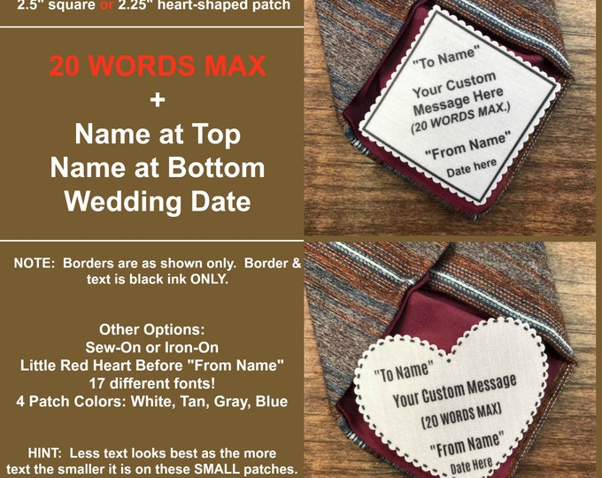 """Featured listing image: CUSTOM TIE PATCH - Personalized Message, Father of the Bride, Father of the Groom, Little Red Heart Option, 2.5"""" Square or 2.25"""" Heart Shape"""