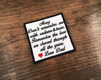 BLACK BORDER & TEXT - Remember The Love - For Shirt Pillow Sew Iron Memory Patch 4 Inch Add Heart In Memory Embroidered Choose Names